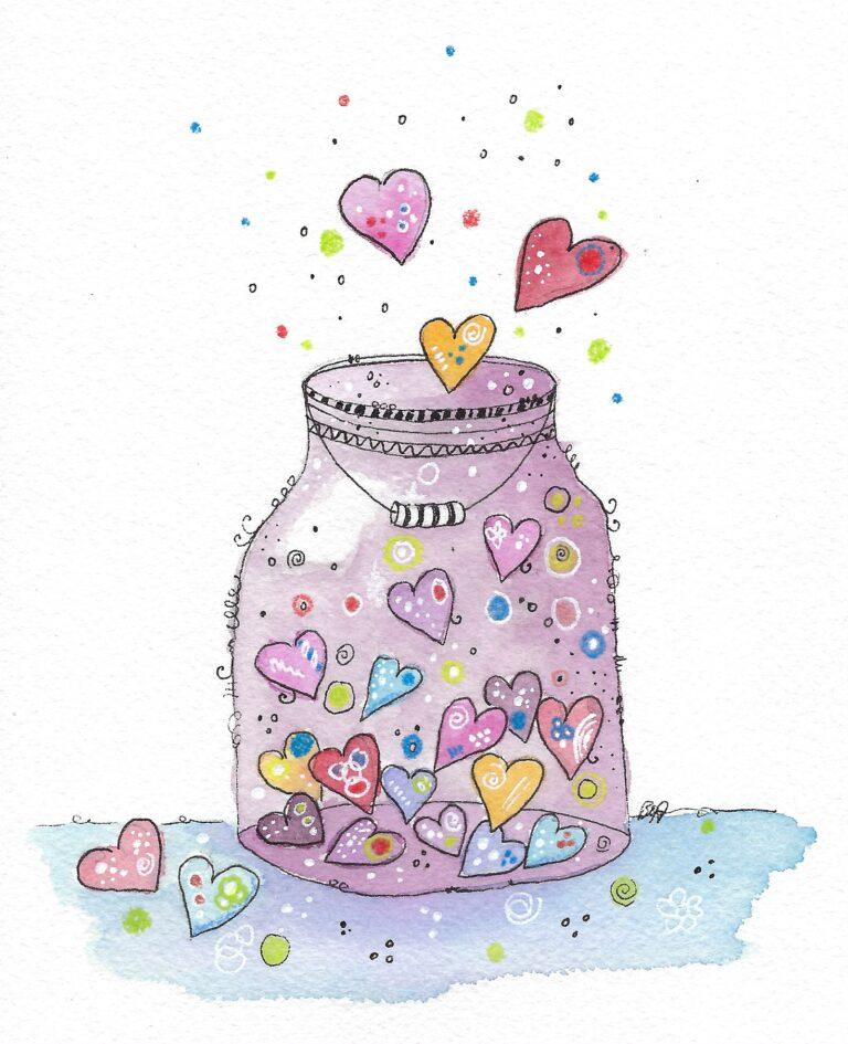 Glas mit Herzen
